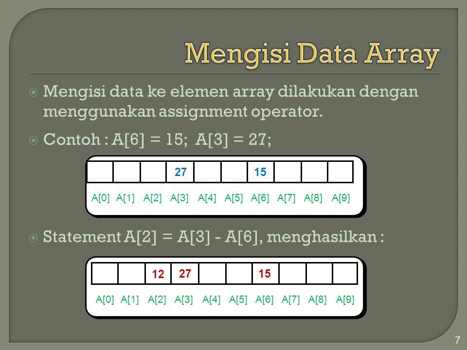 Mengisi Data Array Mengisi data ke elemen array dilakukan dengan menggunakan assignment operator. Contoh : A[6] = 15; A[3] = 27;
